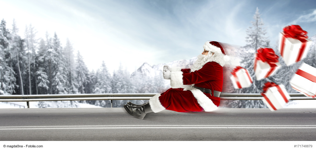 santa claus on road